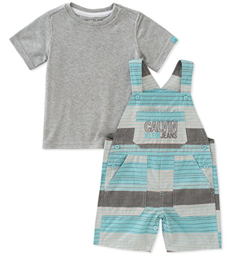 Calvin Klein Baby Boys 2 Pieces Shortall, Mint Green/Gray, 12M by Calvin Klein