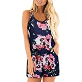 Sunhusing Women's Sleeveless Off Shoulder Spaghetti Strap Print Jumpsuit Drawstring Lace-Up Shorts Romper Navy