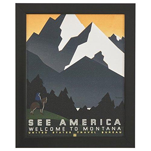 """Rivet Vintage U.S. Parks Montana Poster, Black Barnwood Frame, 19"""" x 23"""""""