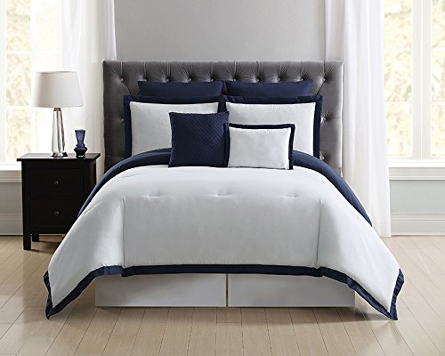 Truly Soft Everyday Hotel Border Comforter Sets 7 Piece, King, White/Navy by Truly Soft Everyday