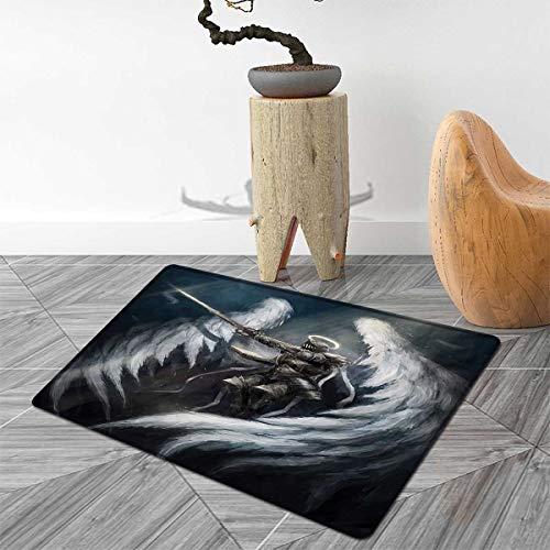 Fantasy Bath Mats Carpet Angel Knight with Majestic Wings Spiritual Superior Power Imagination Art Print Floor Mat Pattern 30