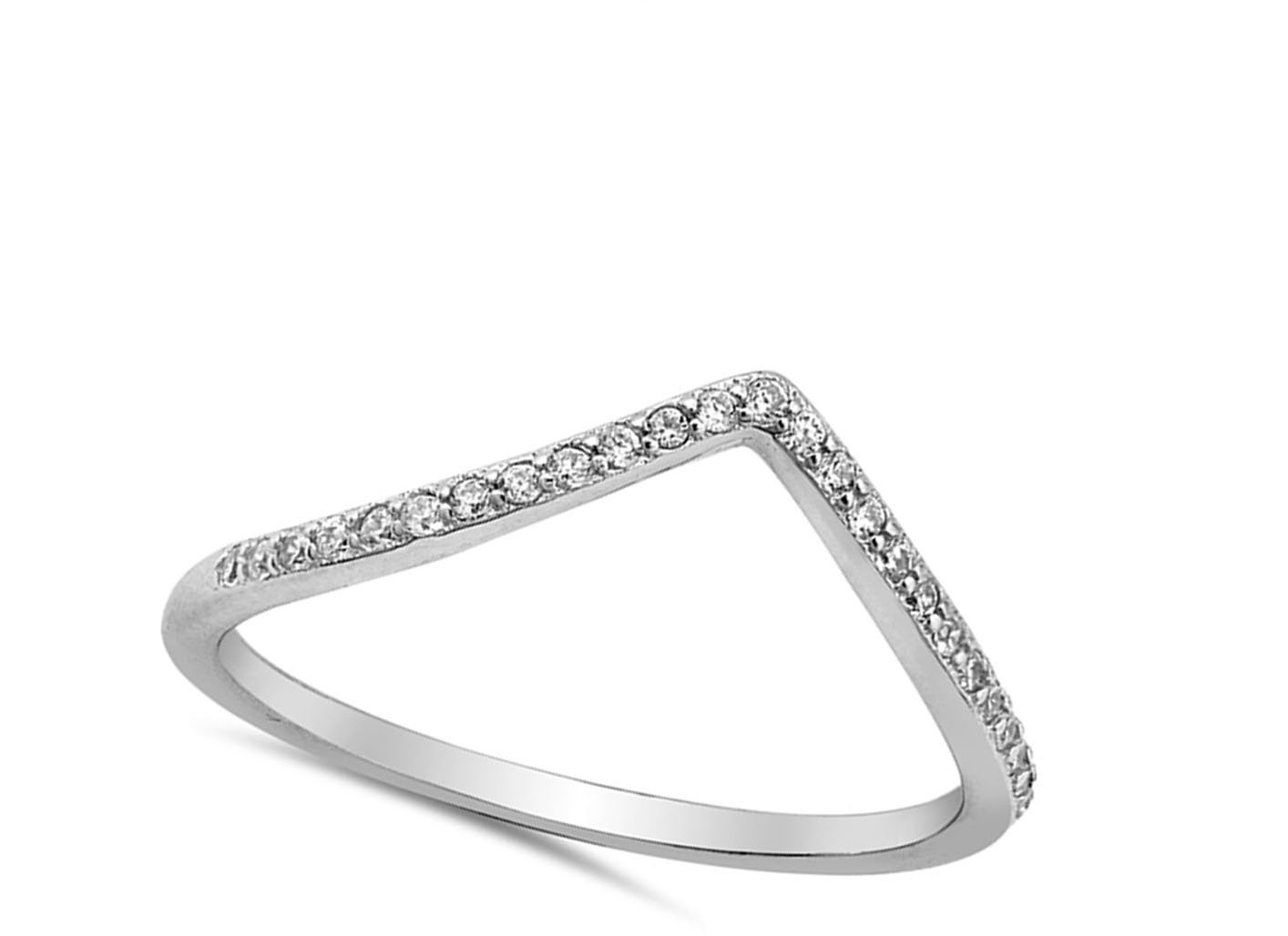 Chevron Pointed Tiara Clear CZ Thumb Ring .925 Sterling Silver Band Size 6 by Sac Silver (Image #1)