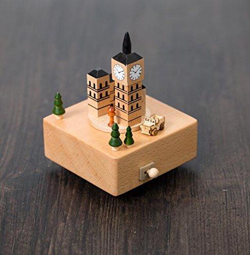 Creative Wooden Crafts Mini Big Ben Music Box For Birthday Gift Home ornament BOBOJW