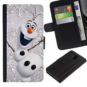 Feliz Navidad de invierno de los niños- la tarjeta de Crédito Slots PU Funda de cuero Monedero caso cubierta de piel Para Samsung Galaxy S5 Mini (Not S5), SM-G800