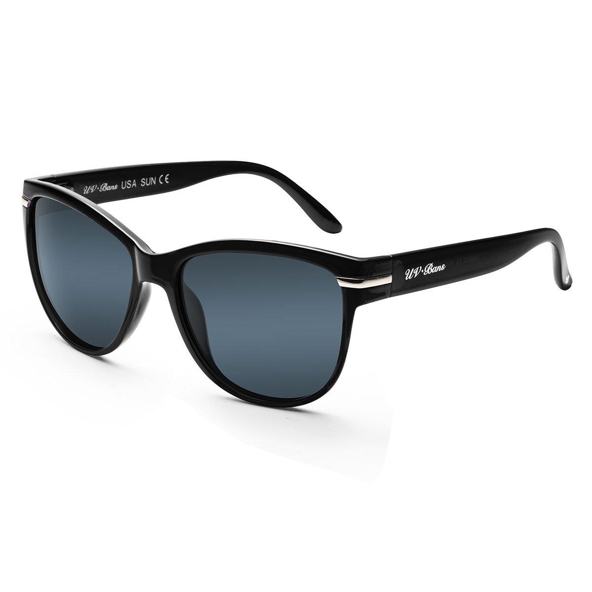 UV-BANS Women Polarized Sunglasses Classic Retro Cateye Frame 100% UV Protection (Black Frame 1, Black)