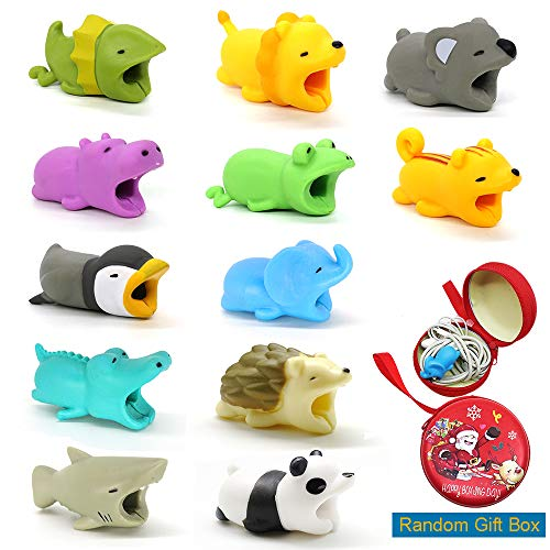 12Pcs Cable Bites, HOMEWE Animal Cable Protectors with Gift Box for Phone Cables (Elephant, Crocodile, Shark, Panda, Hedgehog, Frog, Hippo, Lion, Lizard, Koala, Squirrel, Penguin)