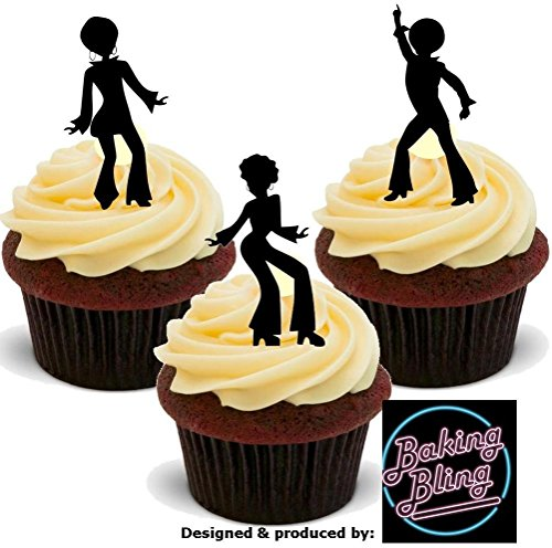 12 x 70s Seventies Silhouette Dancers Mix - Fun Novelty Birthday PREMIUM STAND UP Edible Wafer Card Cake Toppers - 70s Items