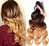 Sunber Hair Brazilian Ombre Virgin Hair Body Wave Weft Mixed Bundles 100% Human Hair Extensions #1b/4/27 Color (T1B/4/27,16 16 16)