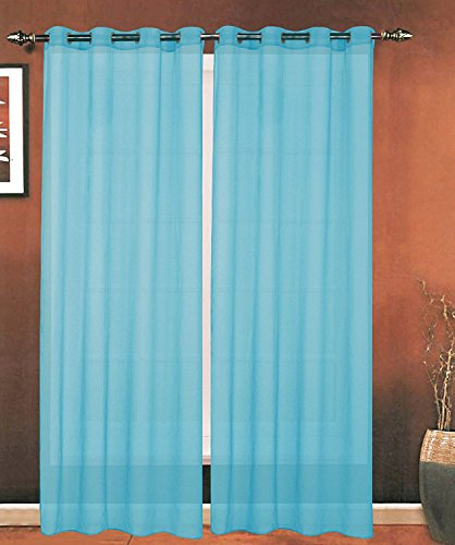 Elegance Linen Luxury 2-Piece Grommet SHEER PANEL/CURTAIN - Window Curtains 55-inch width X 84-inch Length - Aqua
