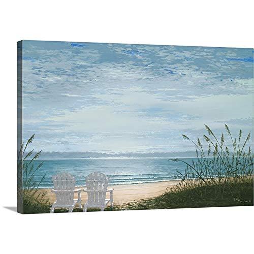 Base Sand Canvas - Bruce Nawrocke Premium Thick-Wrap Canvas Wall Art Print entitled Beach Chairs 48