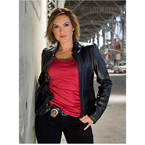 Law & Order SVU Detective Benson in leather jacket and red shirt in city street 8 x 10 Inch - Noth Bend