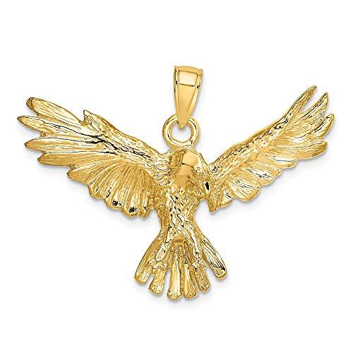 14K Yellow Gold 2-D Eagle Flying Charm Pendant