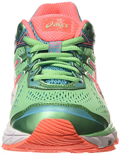 ASICS - Gt-1000 4, Zapatillas de Running mujer Verde (Spring Bud / Flash Coral / Scuba Blue)