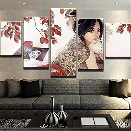 lmqzzc Hd 5 Pieces Printed Painting Poster Girl with Dragon Tattoo Canvas Set for Living Room-Framed-30X40Cmx2 30X60Cmx2 30X80Cmx1]()