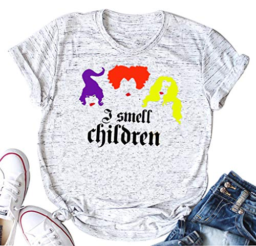 DUDUVIE I Smell Children Tee Shirts Women Funny Hocus Pocus Shirt Sanderson Sisters O-Neck Tee Tops(Small) White -