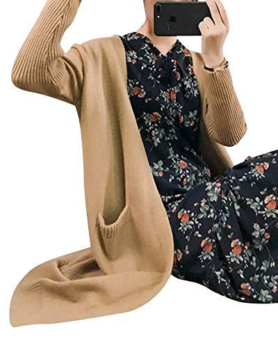 Tasche Moda Outerwear Sciolto Women Taglie Calda Maglia A Forti Monocromo Giovane Con Vita Casuali Cappotto Alta Autunno Eleganti Lunga Giacca Khaki Cardigan Confortevole Donna Manica qXwIBHq
