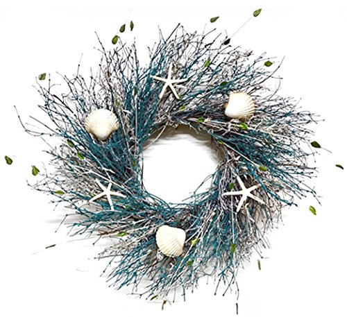 Small Blue Coral Reef Wreath for Interior Spring Summer Seasonal Coastal Decor Perfect Bathroom Wreath Kitchen Bedroom Or Living Room 15 Inch Diameter