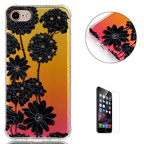 Iphone 7 4 7  Silicone Case  Free Screen Protector  Kasehom Gradient Colour Gold Pink Bling Glitter Design Ultra Slim Soft Tpu Gel Protective Cover For Iphone 7 4 7  Black Daisy