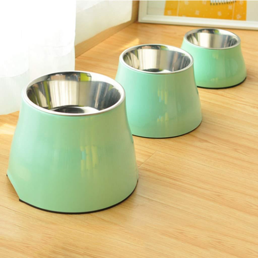 HVTKL Dog Bowl Pet Bowl Dog Food Bowl Large Dog Stainless Steel High Bowl Cat Bowl Green Pet Supplies 1pc