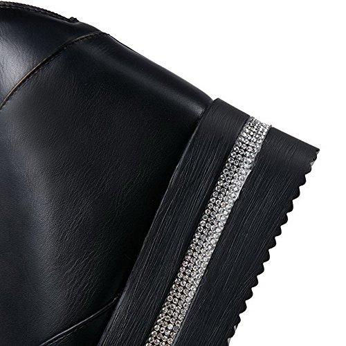 AllhqFashion Mujer Puntera Cerrada Puntera Redonda Tacón Alto Material Suave Sólido Cremallera De salón Negro