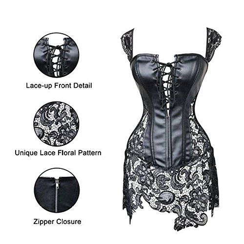 In Pizzo you Donne Sexy Beauty Gonna Con Bellezza you Black Ecopelle Corsetto Di 4xwpH