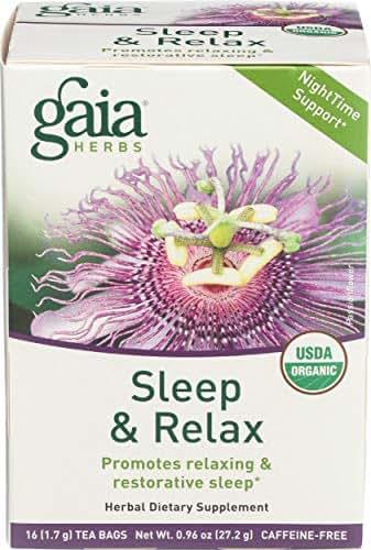 Gaia Herbs Sleep and Relax Herbal Tea Bags, 16 Count