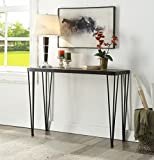 Vintage Brown Black Metal Frame Entryway Console Sofa Table with Nailheads For Sale