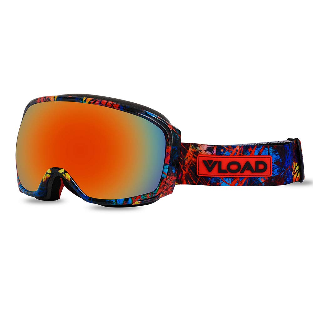 YOZOOE Myopia Interchangeable Lenses Unisex V-90,Ski Goggles Double Layer Anti-Fog Large Spherical Ski Glasses Cocaine (Color : Orange-3, Size : L) by YOZOOE