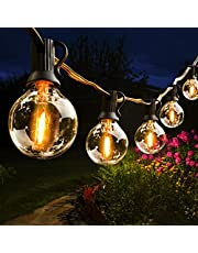 Lichtketting buiten, Hidixon G40 16.2M LED Lichtsnoer globe lampen buiten met 30+2 E12 kunststof gloeilampen, IP44 waterdichte lichtkettingen voor tuin, terras, Kerstmis, bruiloften, feesten