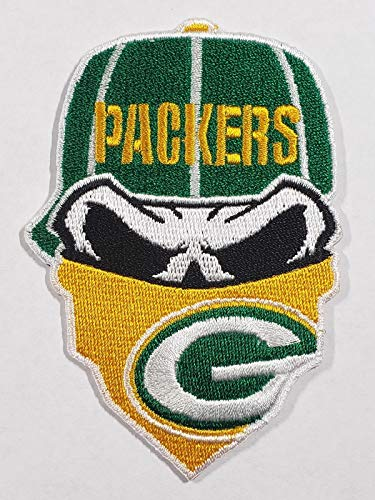 Green Bay Packers Iron On Skull with Bandana Patch 3.6 inches x 2.5 inches ()