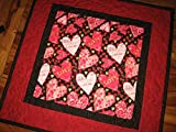 """Valentines Day Table Topper, Pink and Red Hearts Table Runner, Quilted 20x20"""""""