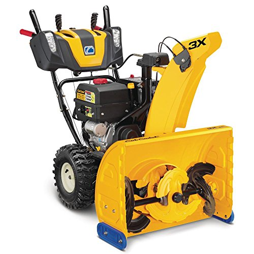Yellow, three-stage snow blower.