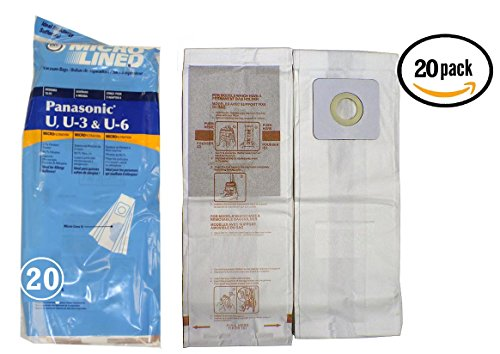 20 Panasonic Type U, U3, U6 DVC Micro-Lined Made Vacuum Bags, 20 Pack.