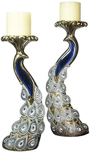 SINTECHNO Bejeweled Pendants Peacock Candleholder Set, 14 x 16