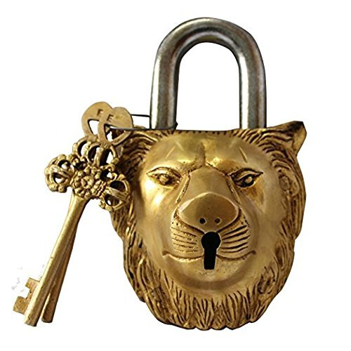 Brass Functional Padlock Collectible Golden Locks from Indian Accent (Lion Lock)