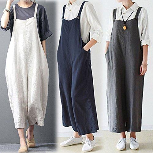 Celmia Womens Casual Loose Bib Baggy Overalls Jumpsuit Pants Plus Size Cotton Romper