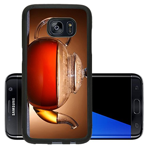 Luxlady Premium Samsung Galaxy S7 Edge Aluminum Backplate Bumper Snap Case IMAGE 37087775 Glass teapot on brown background