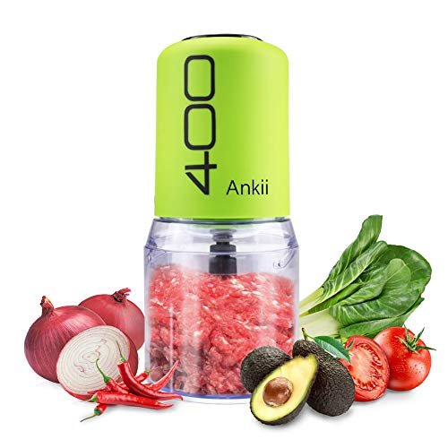 Food Processor Blender Electric Vegetable Chopper Multifunctional Meat Chopper Veggie and Fruit Mincer Mixer 4 Stainless Steel Blades Green by Ankii