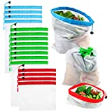 Reusable Produce Bags, VERONES Reusable Mesh Bags 16 Pack Washable Eco Friendly Bags with Tare Weight on Tags for Grocery Shopping Storage Like Fruit Vegetable and Toys