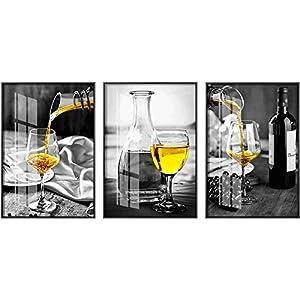 Vino giallo moderno pre-cena dipinti su tela dipinti e stampe decor quadri bianchi neri quadri artistici per bar… 3 spesavip
