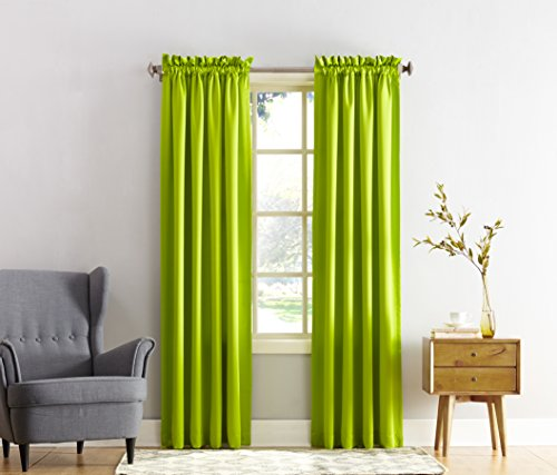 Sun Zero Barrow Energy Efficient Rod Pocket Curtain Panel 54 X 84 Lime Green