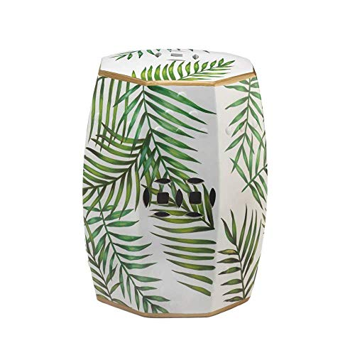 Ceramic Garden Stool, Green Leaf Gold Accent Table, Oriental Accent Stools, Hexagon Ceramic Foot Stool, Asian Porcelain Style Drum Table, Tropical Sun Room Furniture, Indoor Outdoor Patio Side