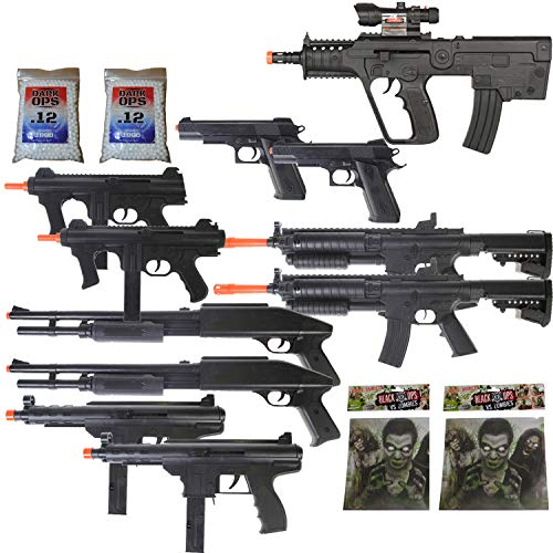 DOA 11 Gun P2163 Airsoft Rifle Package + Shotguns + Pistol + Tec9 SMG + Targets 6mm BBS
