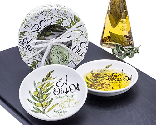 Artisano Designs EV Olive Oil Dipping Dishes Gift Set of 2 - Olive Oil Dipping Bowl