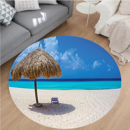 Nalahome Modern Flannel Microfiber Non-Slip Machine Washable Round Area Rug-arasol and Chair Sunny Day in Romantic Beach Caribbean Picture Print Ivory Aqua Navy Blue area rugs Home Decor-Round 59