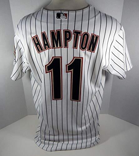(2009 Houston Astros Mike Hampton #11 Game Used White Pinstripe Jersey - Game Used MLB Jerseys)