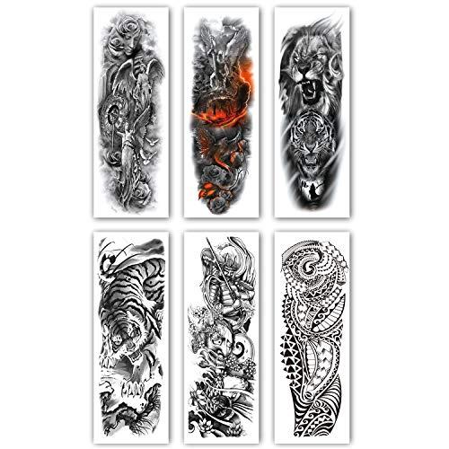 Leoars Extra Temporary Tattoo Black Tattoo Full Arm Sleeve Temporary Tattoo Stickers Body Atr for Man Women, 6-Sheet