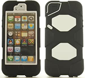 Black White Hard Soft Gel Combo Dual Layer Hybrid Apple iPhone 5 Cover Case w/ Screen Protector