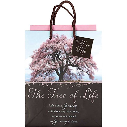 Tree of Life Blossoms Pink and Brown Small Tissue Paper and Gift Bags with Handles 3 Pack -