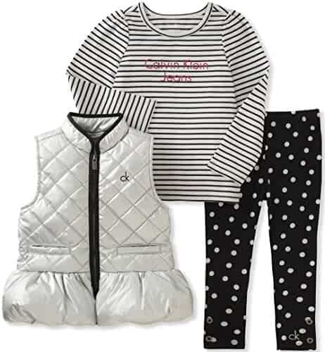Calvin Klein Girls' 3 Pc Puffer Vest Set